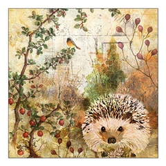Eko salveta za dekupaž Autumn Hedgehog - 1 kom