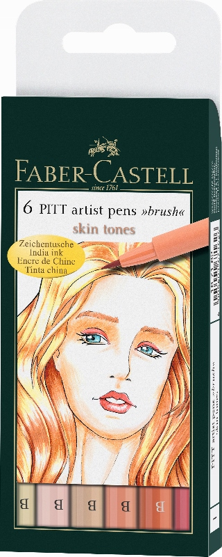 Flomasteri Art Pen PITT - set 6 Skin
